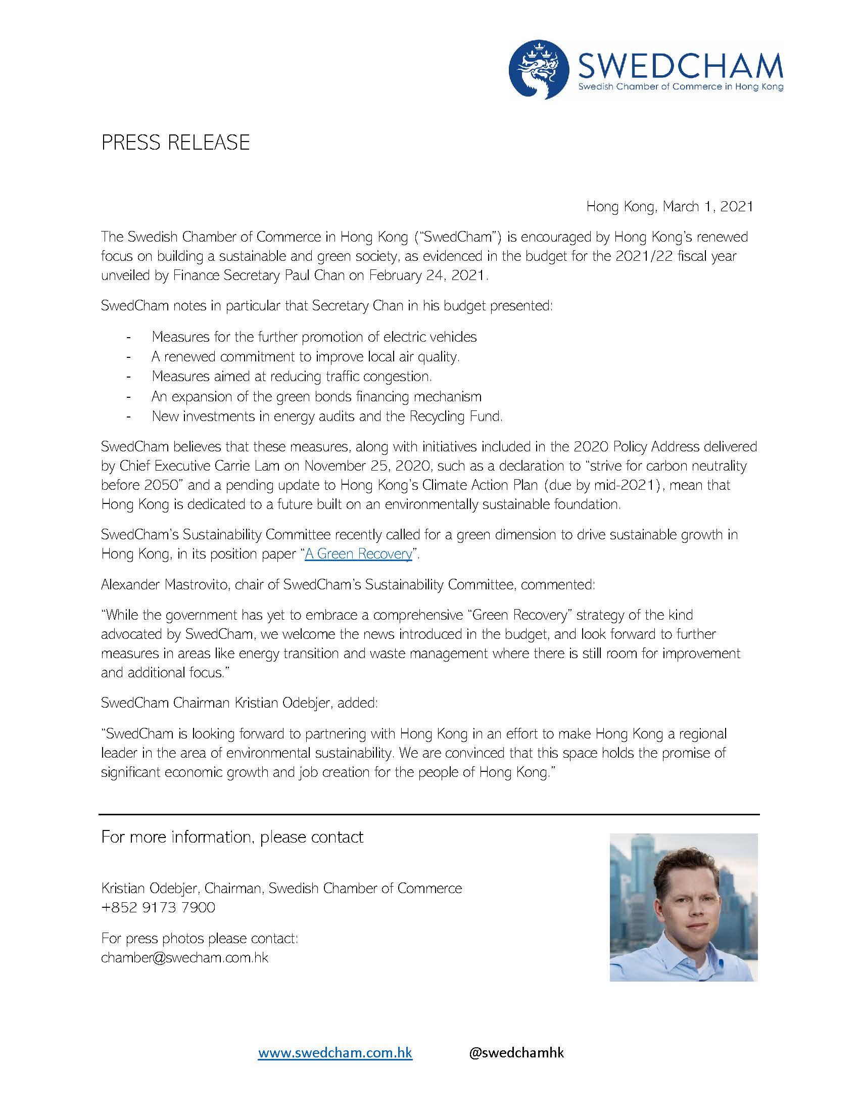 210301 PRESS RELEASE SwedCham Sust on HK budget